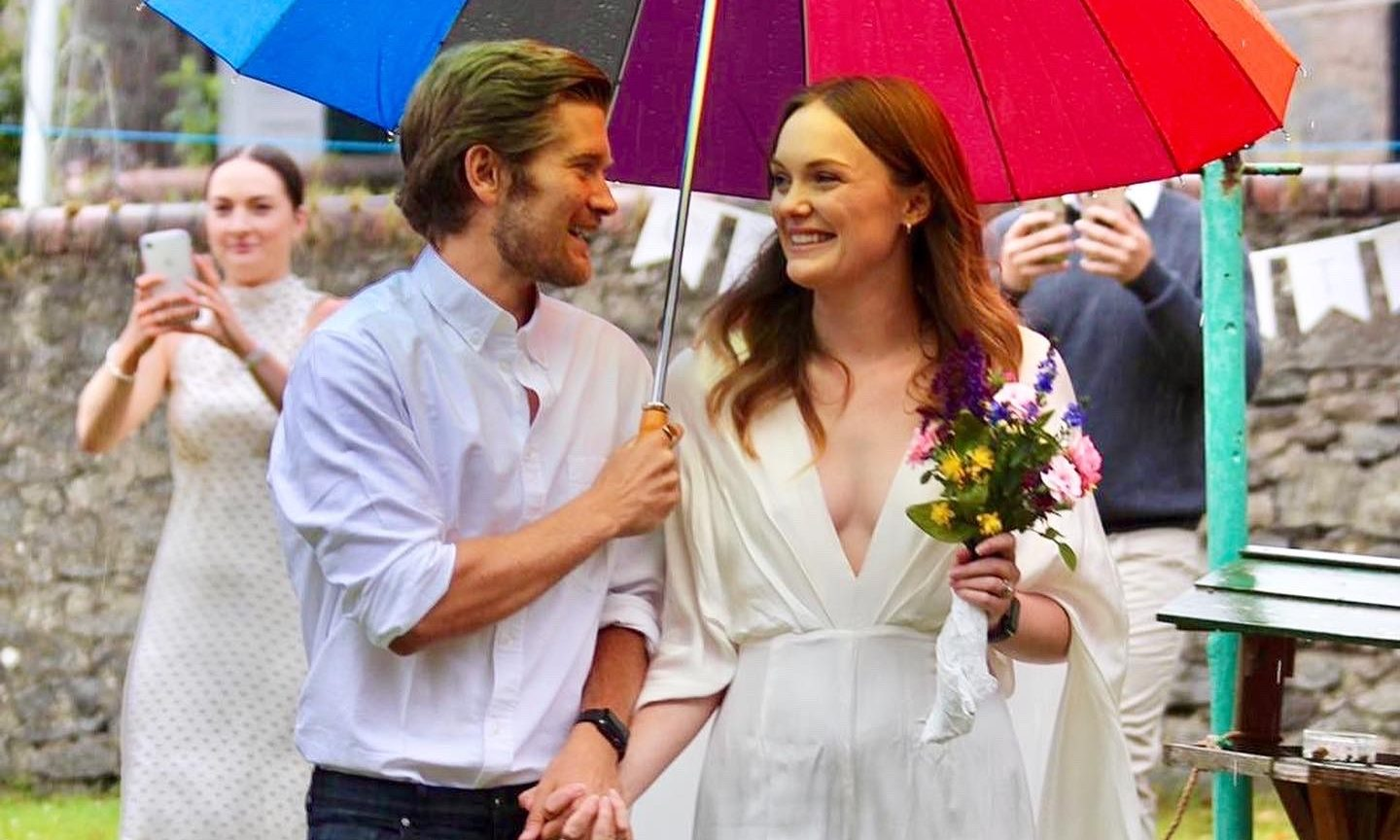 Iona Macgowan, 26, and Connan Cooper, 28, tied the knot in their back garden.