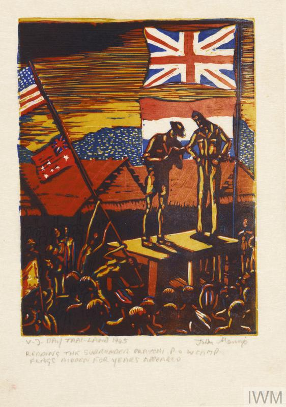 VJ Day, Thailand 1945. Reading the Surrender, Praychi POW Camp. Flags hidden for years appeared. (Art.IWM ART LD 7319) image: Two officers standing on a makeshift platform reading the terms of the Japanese surrender to a group of men.  Flags decorate the platform and more are being hoisted to the left of the composition.  POW huts can be seen in the background. Copyright: © IWM. Original Source: http://www.iwm.org.uk/collections/item/object/19060