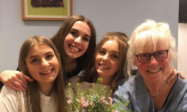 From left to right: Sisters 15-year-old Elizabeth, 20-year-old Kirsty and  19-year-old Erika alongside their grandmother Mairi Hedderwick.