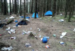 Litter at a site in the Loch Lomond and Trossachs National Park