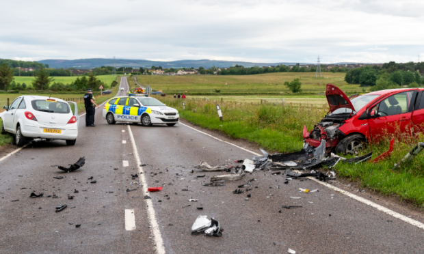 Crash on the A941, photo by Brian Smith