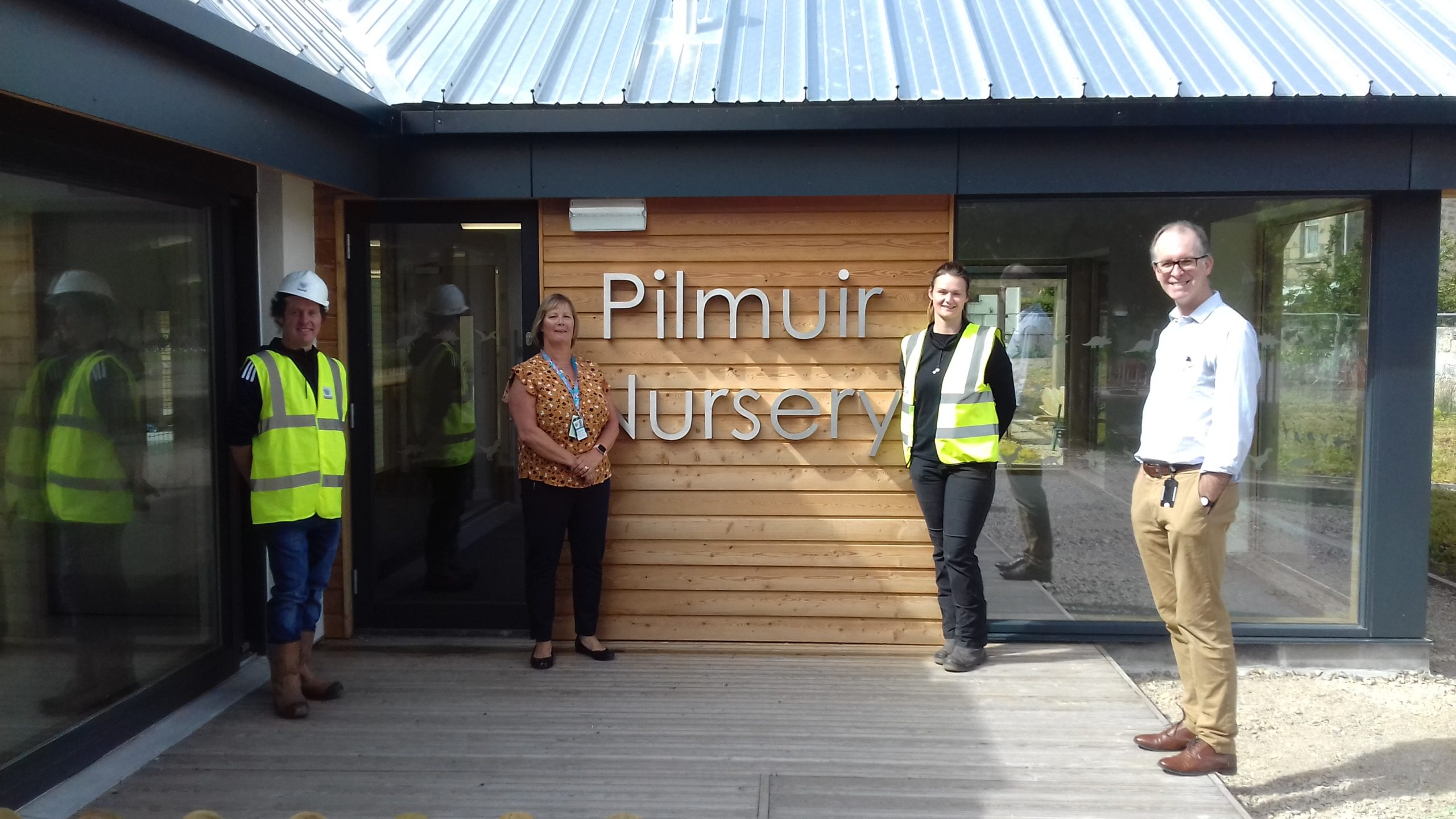 William McKay, Moray Council Architect; Bev Ashworth, Moray Council Nursery Manager; Dawn Marshall, Morrison Construction Site Manager; Robin Paterson, Senior Project Manager ELC Expansion at the new nursery.
