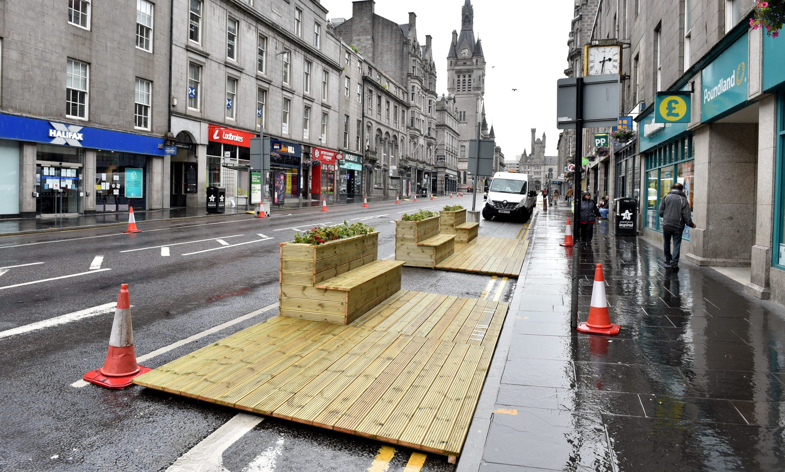 The first of 64 pavement extensions are installed in Aberdeen.