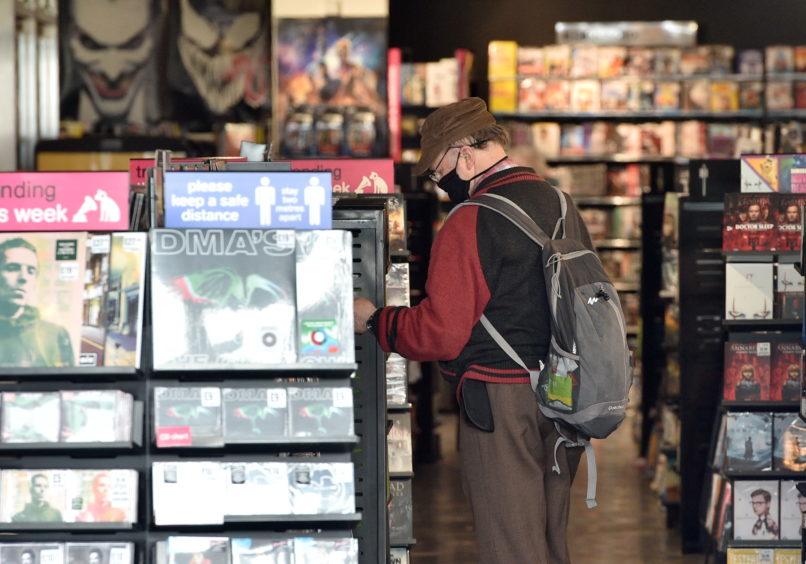 Shoppers inside HMV on Union Street, Aberdeen. Picture by Darrell Benns.
