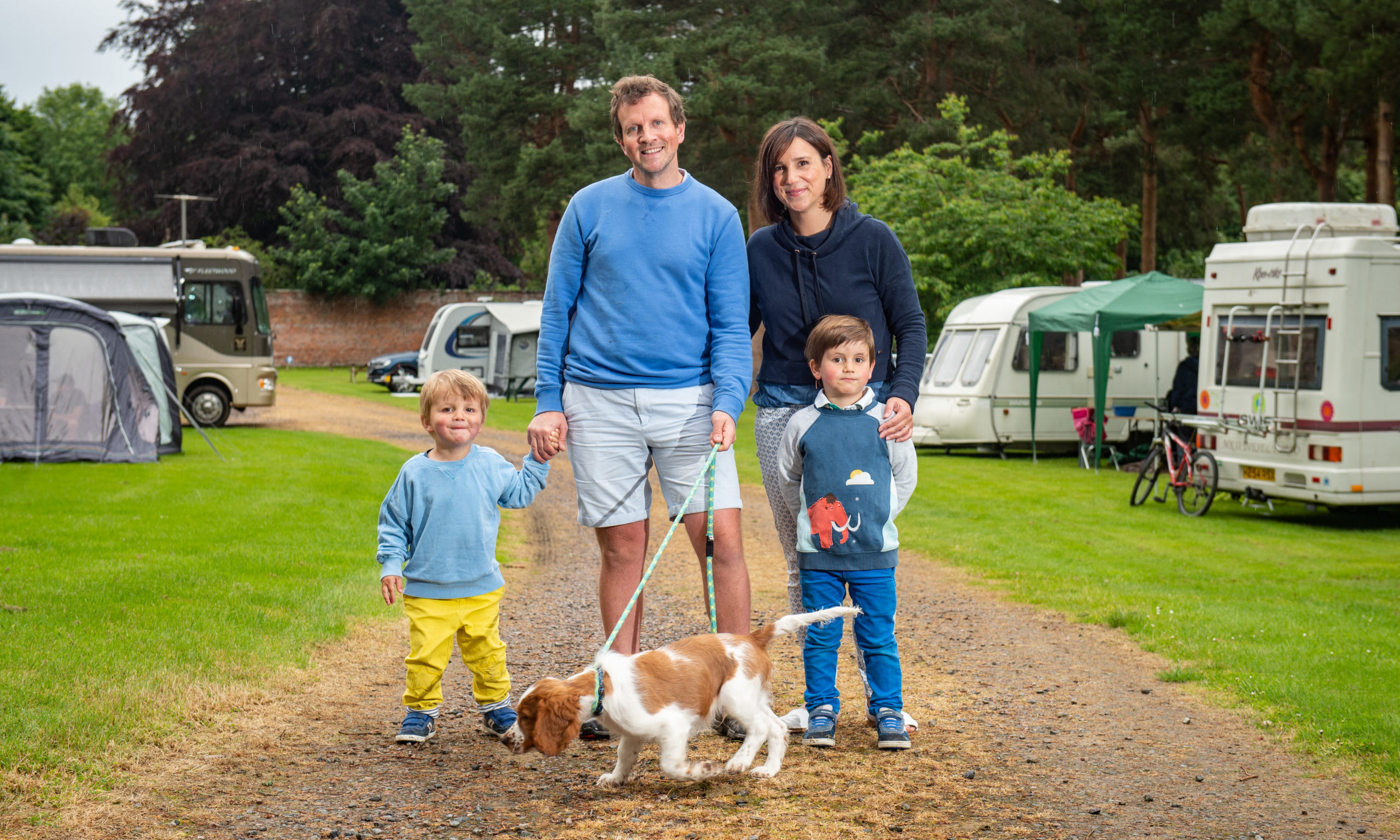 Speyside Gardens Caravan Park in Aberlour owners Oliver and Amy Lyon with their family. Picture by Jason Hedges.