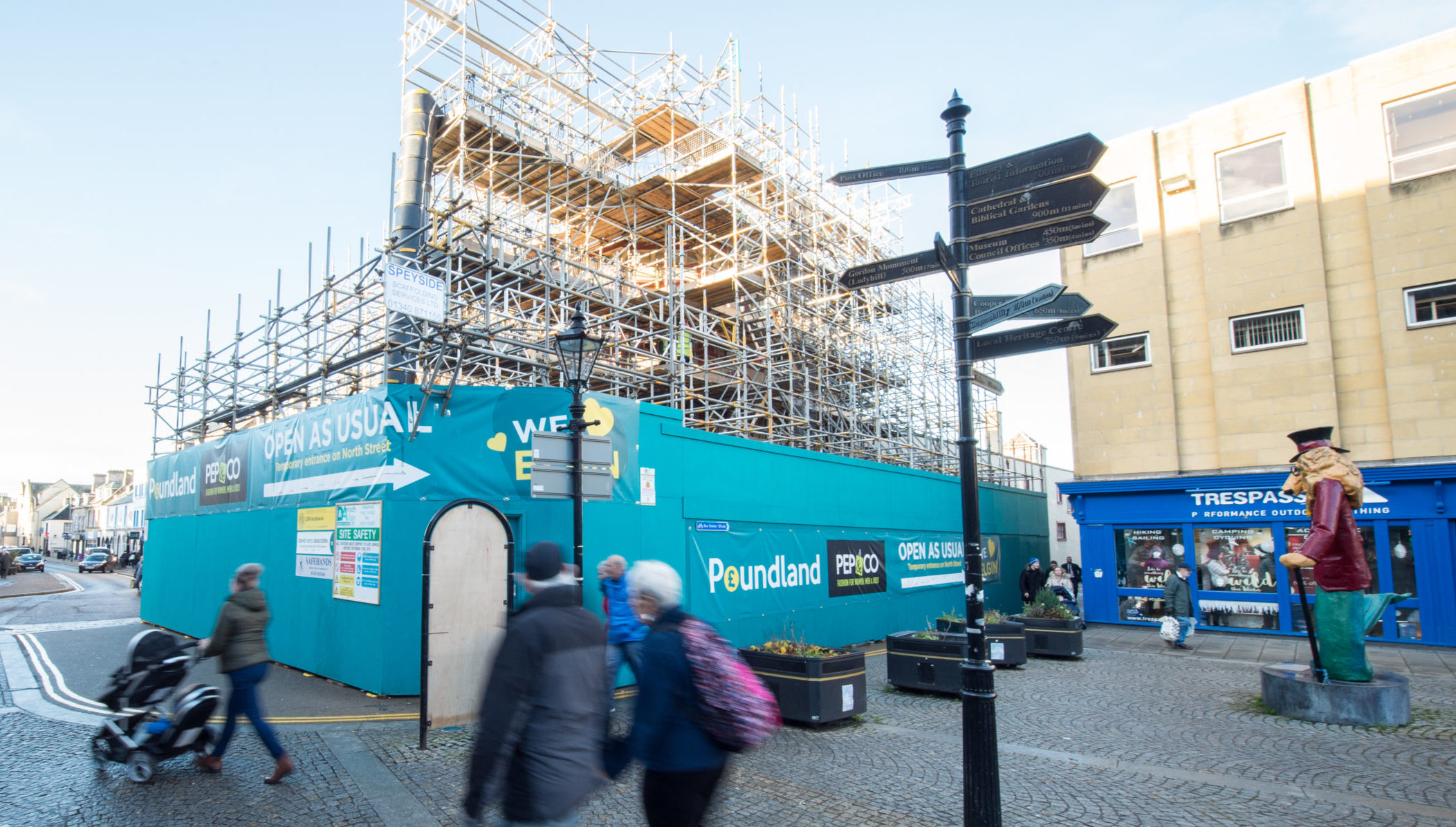 Poundland in Elgin has been shrouded in scaffolding since May 2018.