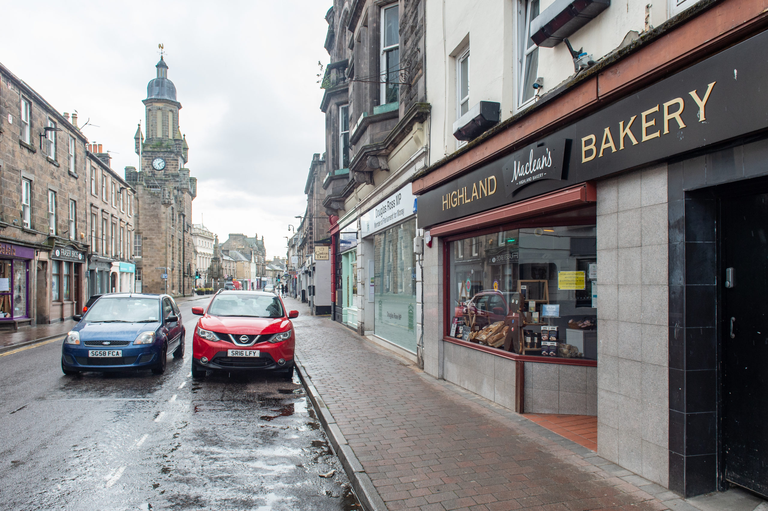The parking bay in front of Maclean's Bakery in Forres. Pictures by Jason Hedges.
