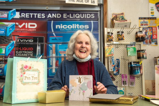 Cathie Longmore of the Cost Cutter shop in Rothes on her 90th Birthday. Pictures by Jason Hedges.