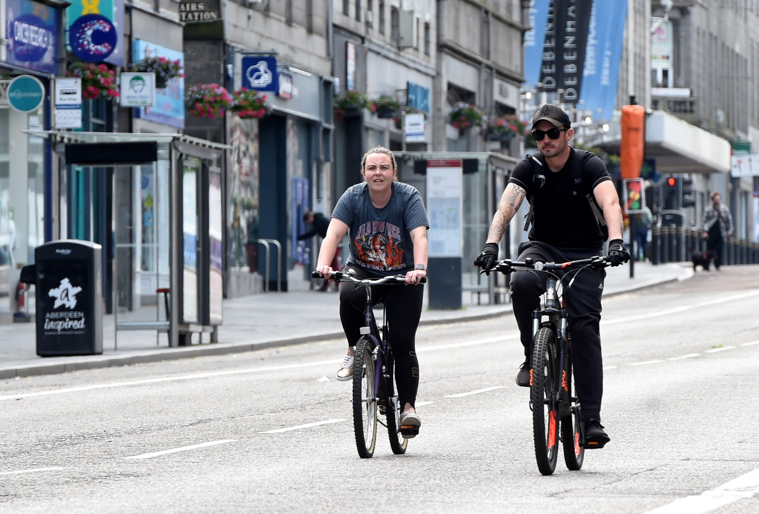 Cyclists enjoying a newly vacated Union Street - but for how long?