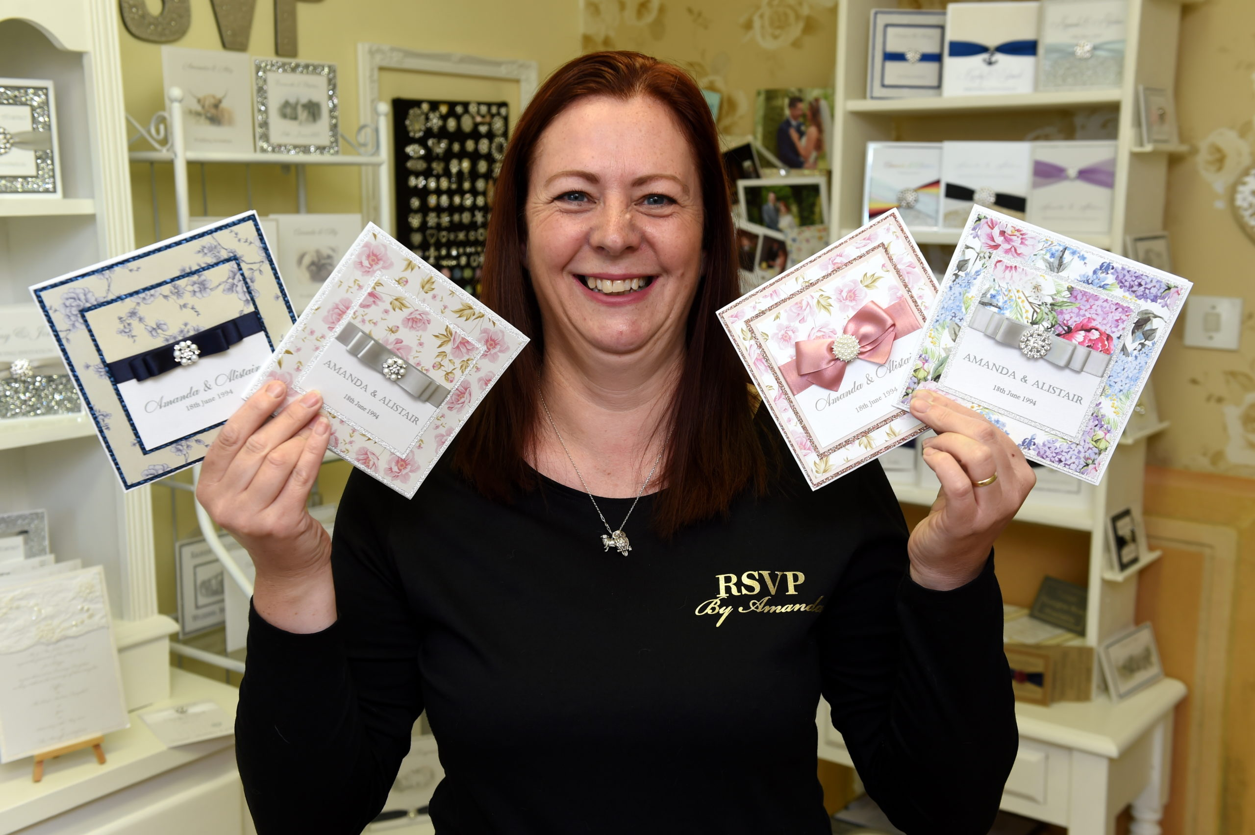 Amanda McGee is prepared for a showroom afternoon event for her hand made bridal stationary at RSVP by Amanda, Buchan Braes Business Centre, Boddam, this years event will be slightly different due to Covid.