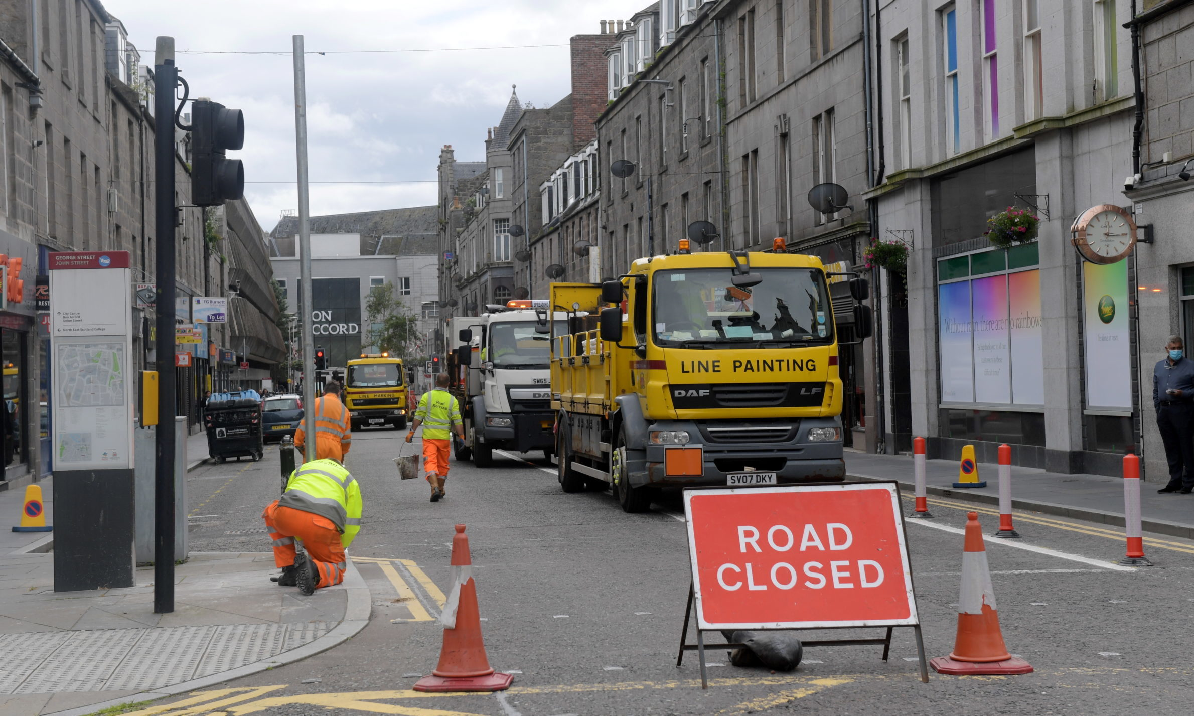 Aberdeen's latest Spaces For People physical distancing work, in George Street. Picture by Kath Flannery.