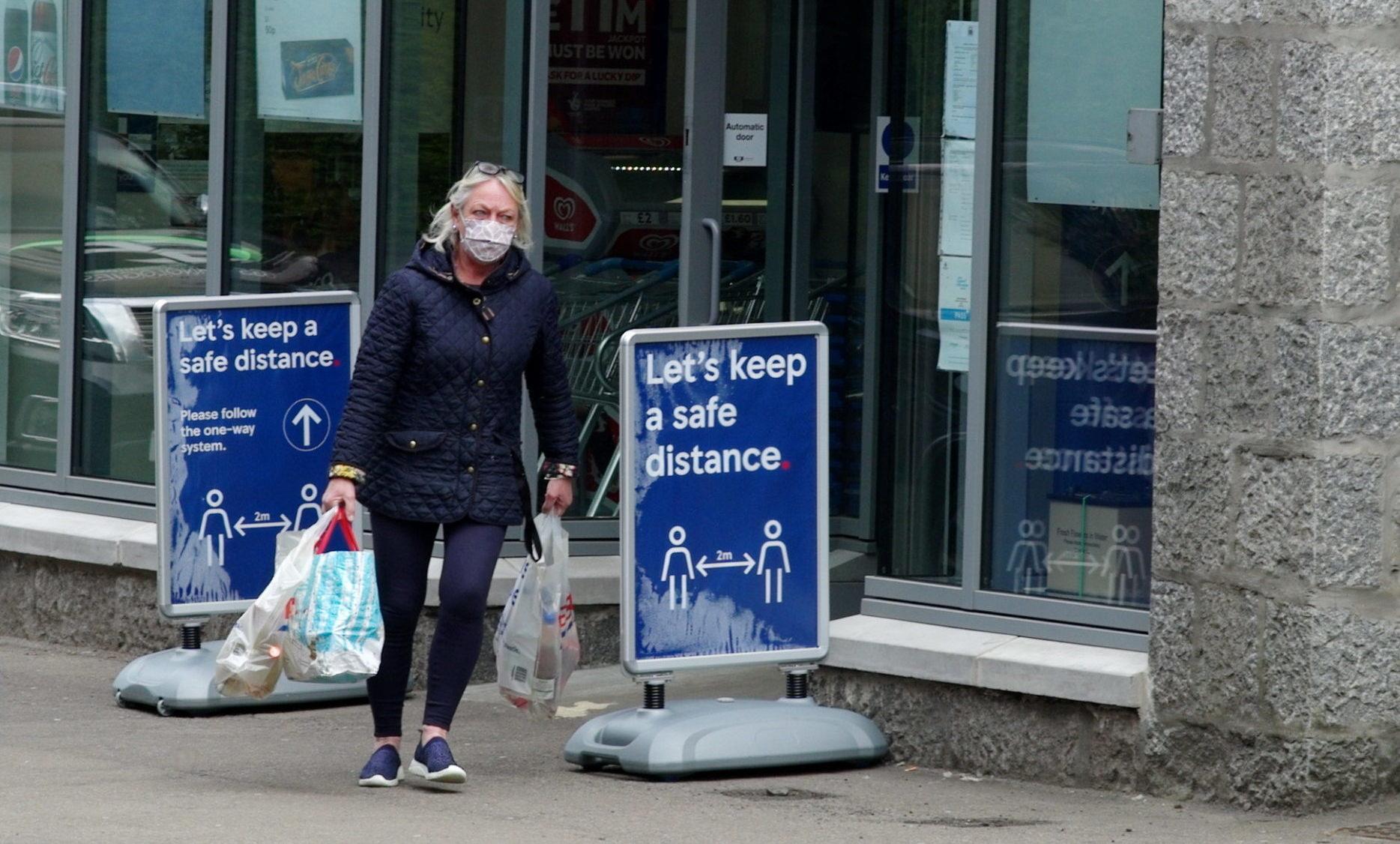 A shopper in North Deeside Road, Cults.