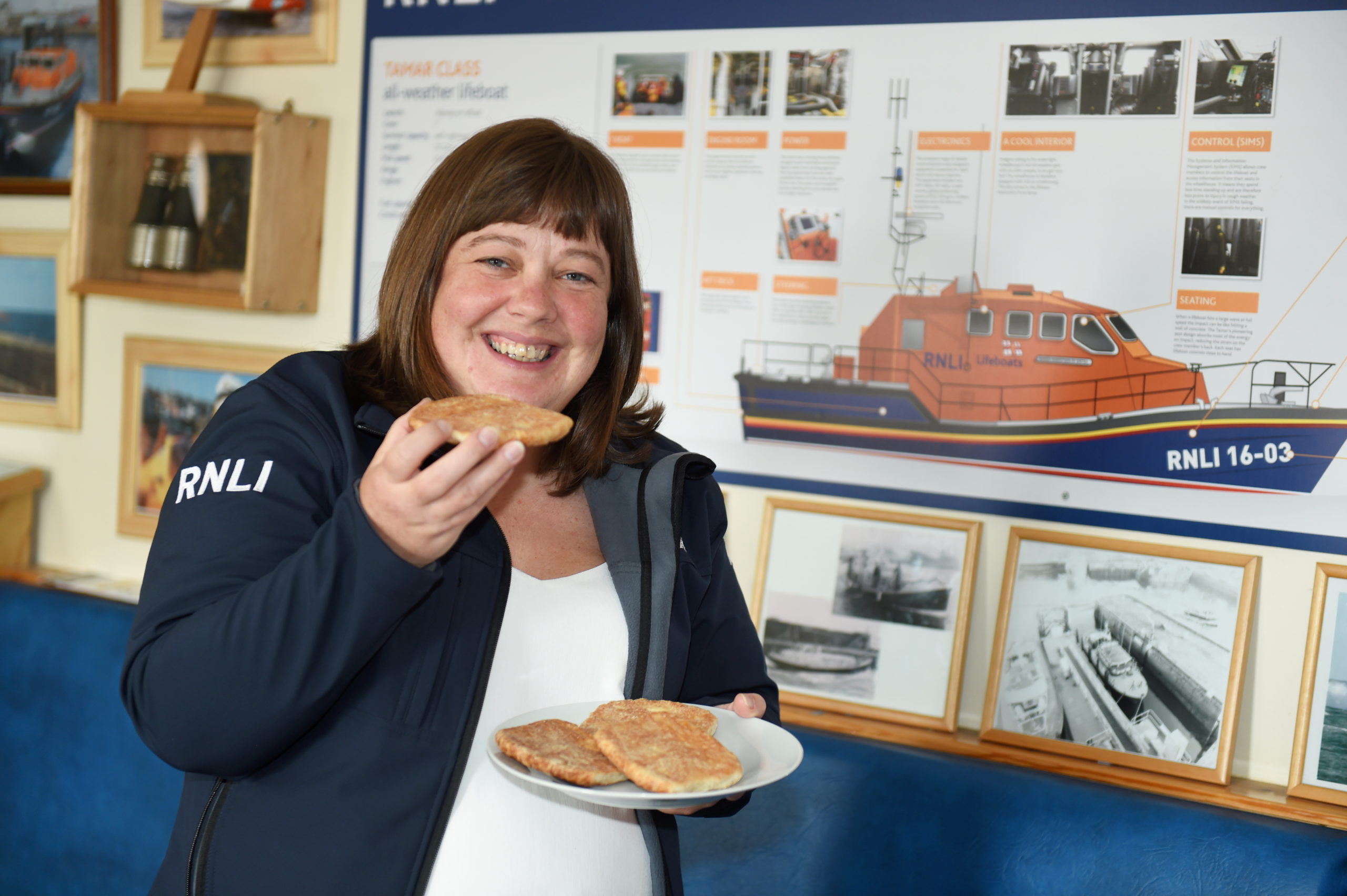 RNLI Peterhead's fundraising chairwoman Caroline Weir with a buttery. Picture by Paul Glendell