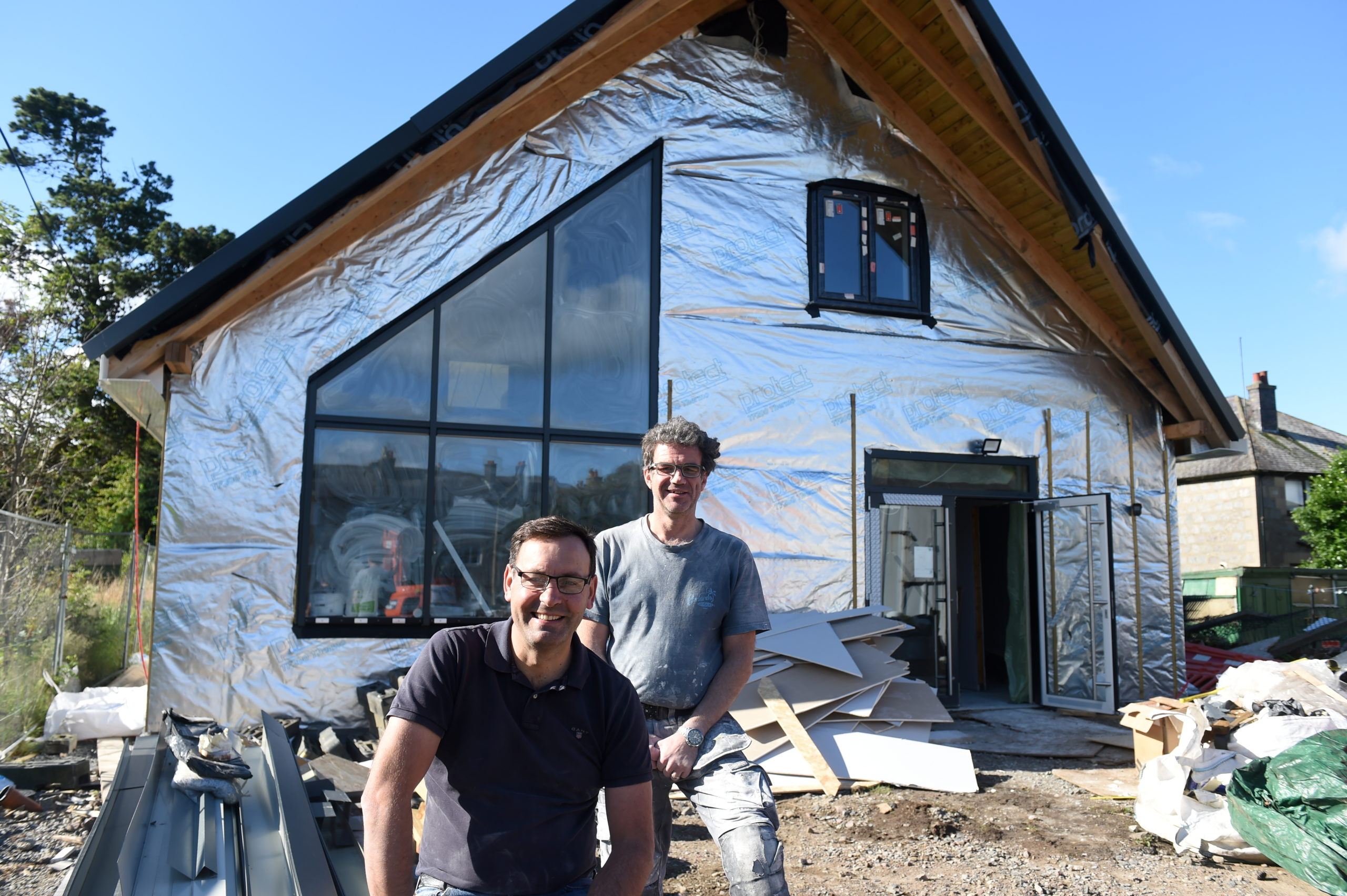 Barry Douglas  and Robert West who along with others have worked almost full time during furlough to build the centre. Picture by Paul Glendell
