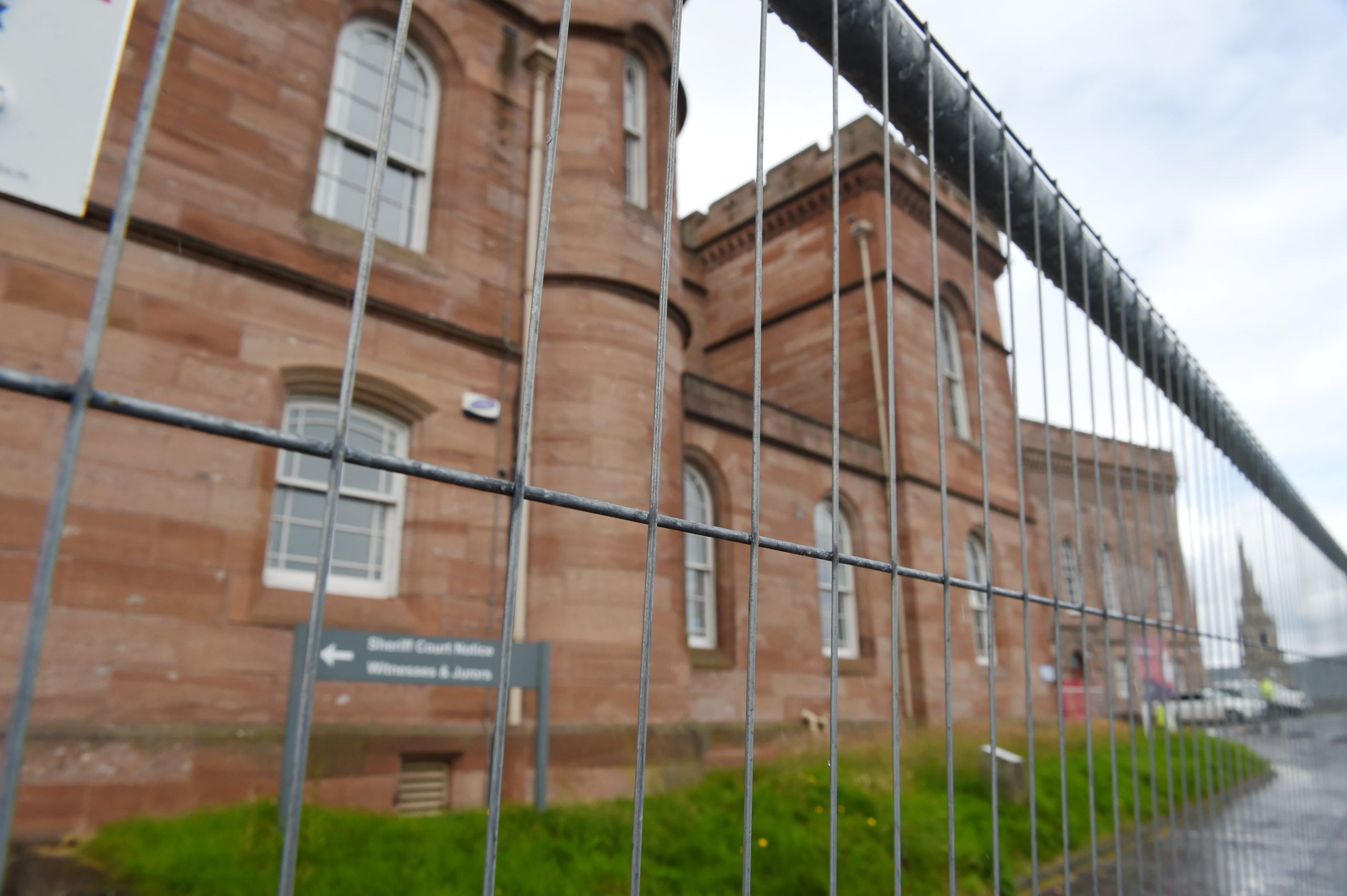 Inverness Castle is now surrounded by construction fencing. Picture by Sandy McCook.
