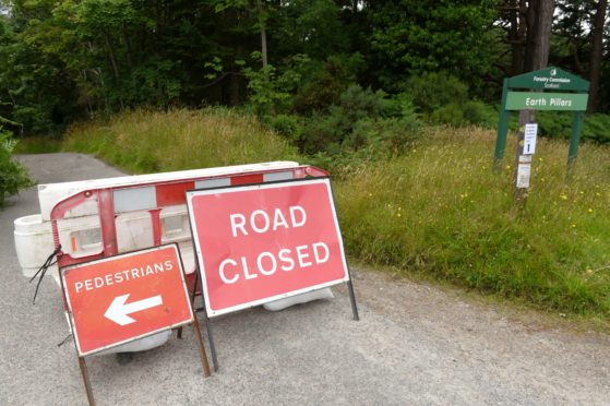 Ordiquish Road close to the Earth Pillars at Fochabers is to be closed for the next month due to a landslip undermining the roadway.