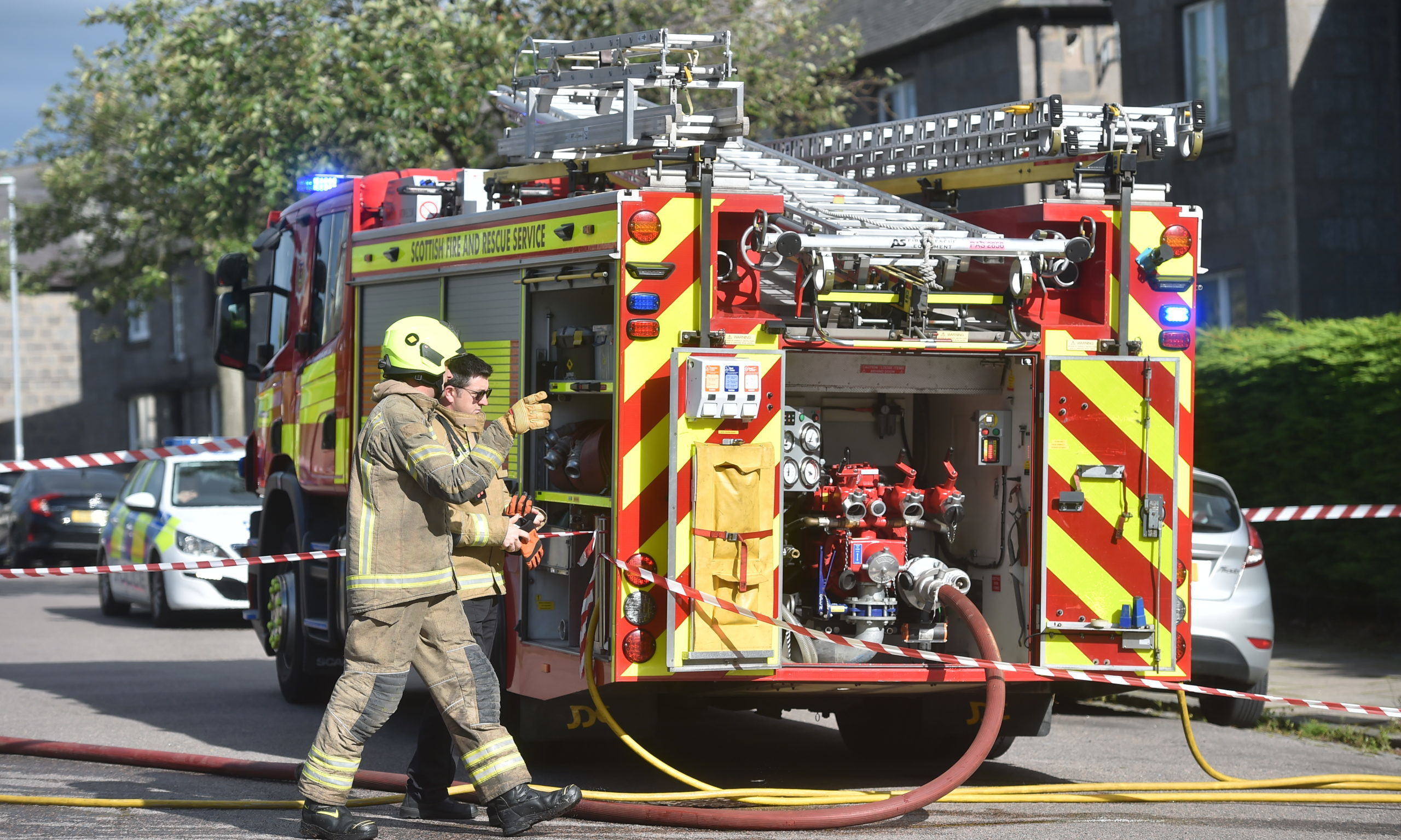 Fire and rescue services in attendance at Polwarth Road. Photo by Scott Baxter