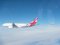 The Typhoon jets were supported by the Voyager aircraft that received a new makeover recently.