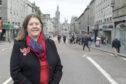 Councillor Sandra Macdonald in the pedestrianised area in Union Street, between Market Street and Bridge Street.