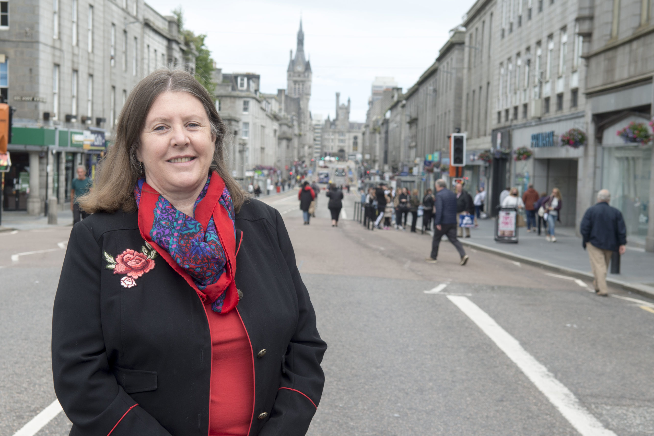Councillor Sandra Macdonald in the pedestrianised area in Union Street, between Market Street and Bridge Street.