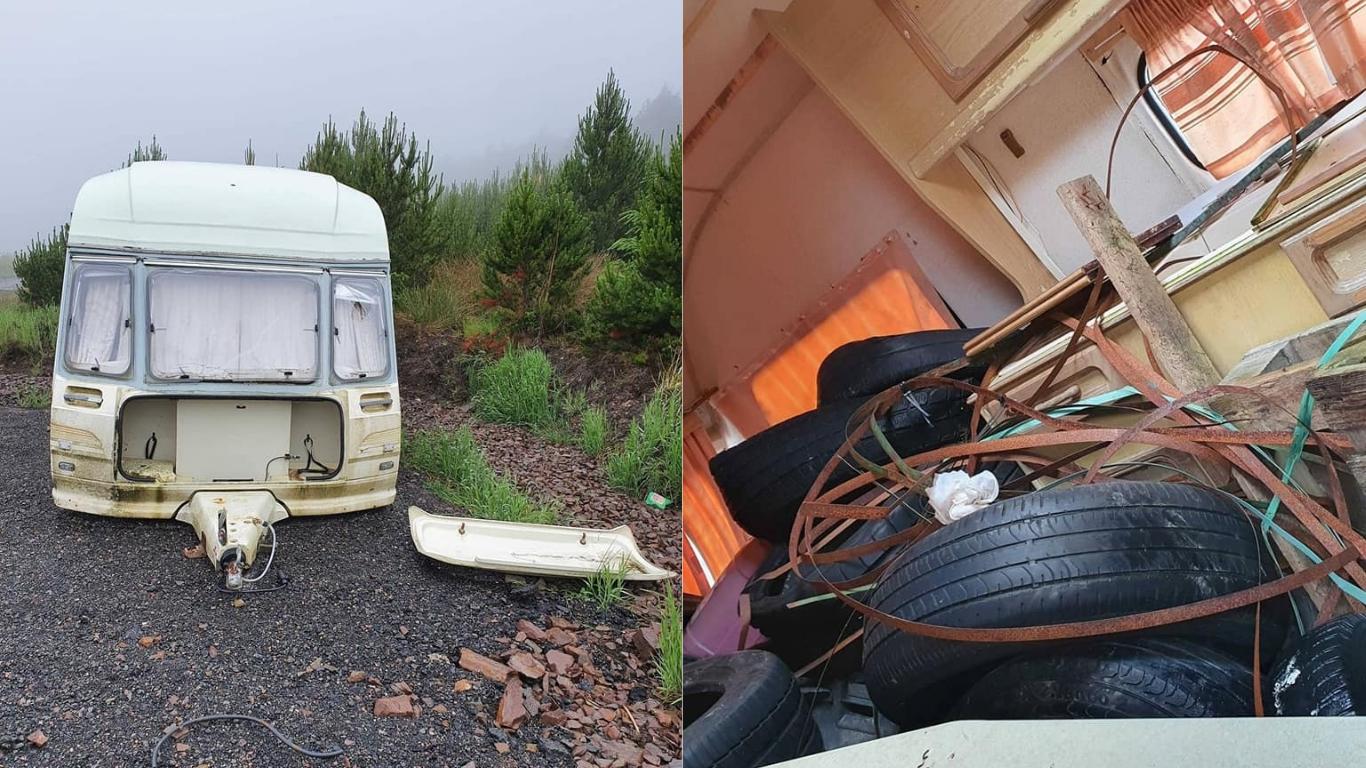 The caravan was dumped on Ousdale Broch car park