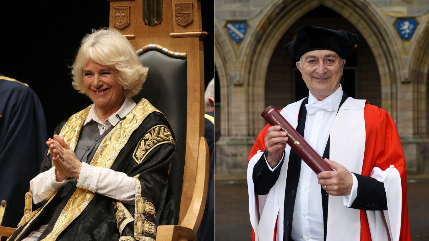 The Duchess of Rothesay, left, and Sir Tony Robinson