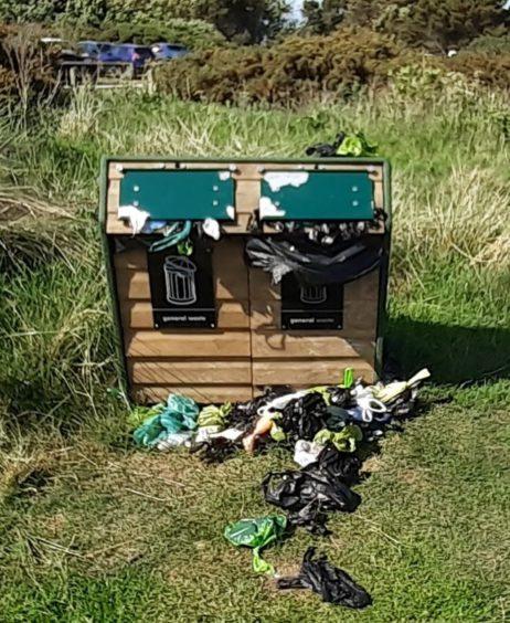 Bins were left overflowing at several Aberdeenshire beauty spots