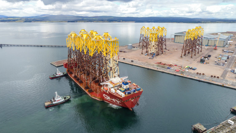 OHT Hawk arrives on the Cromarty Firth carrying wind turbine jackets for the Moray East at Nigg Energy Park.