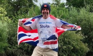 """Dr John Bevan reaches the """"summit"""" of his one million steps challenge."""