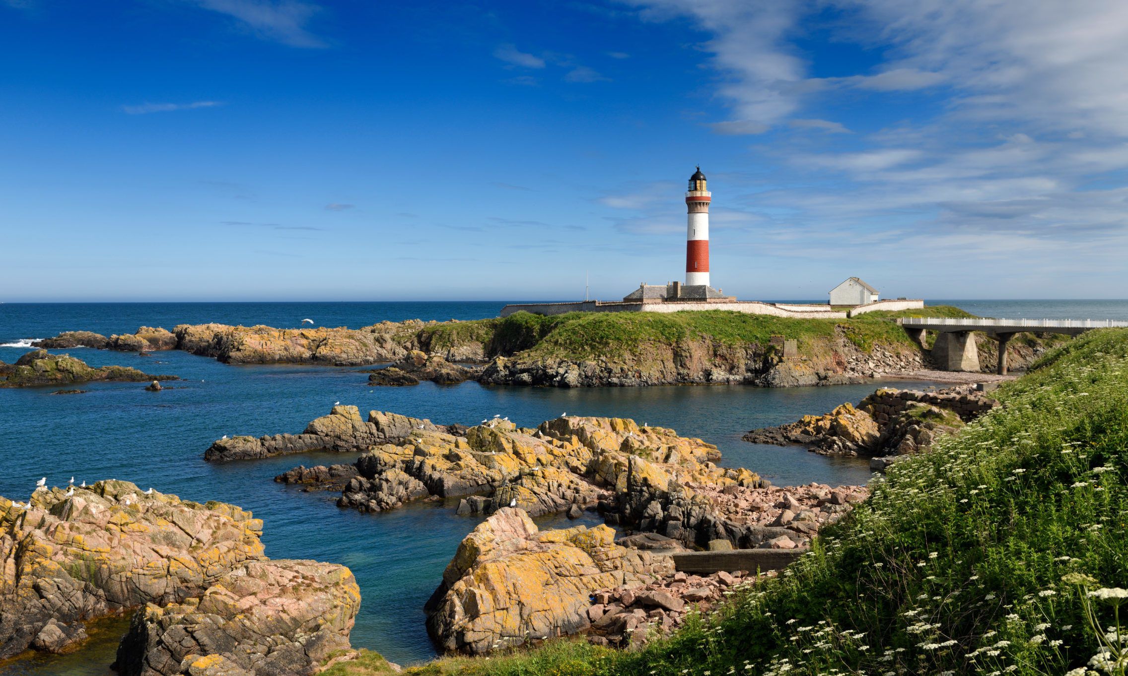 GO VISIT: Blue skies over Buchan Ness headland and its lighthouse