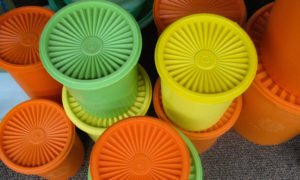 Tupperware biscuit barrels circa 1970s.