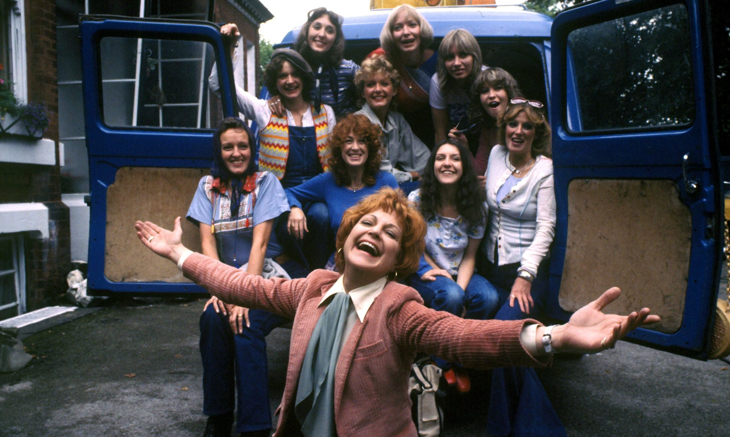Annie Ross with cast members of the 1978 Goosepimples episode of ITV show Send in the Girls.