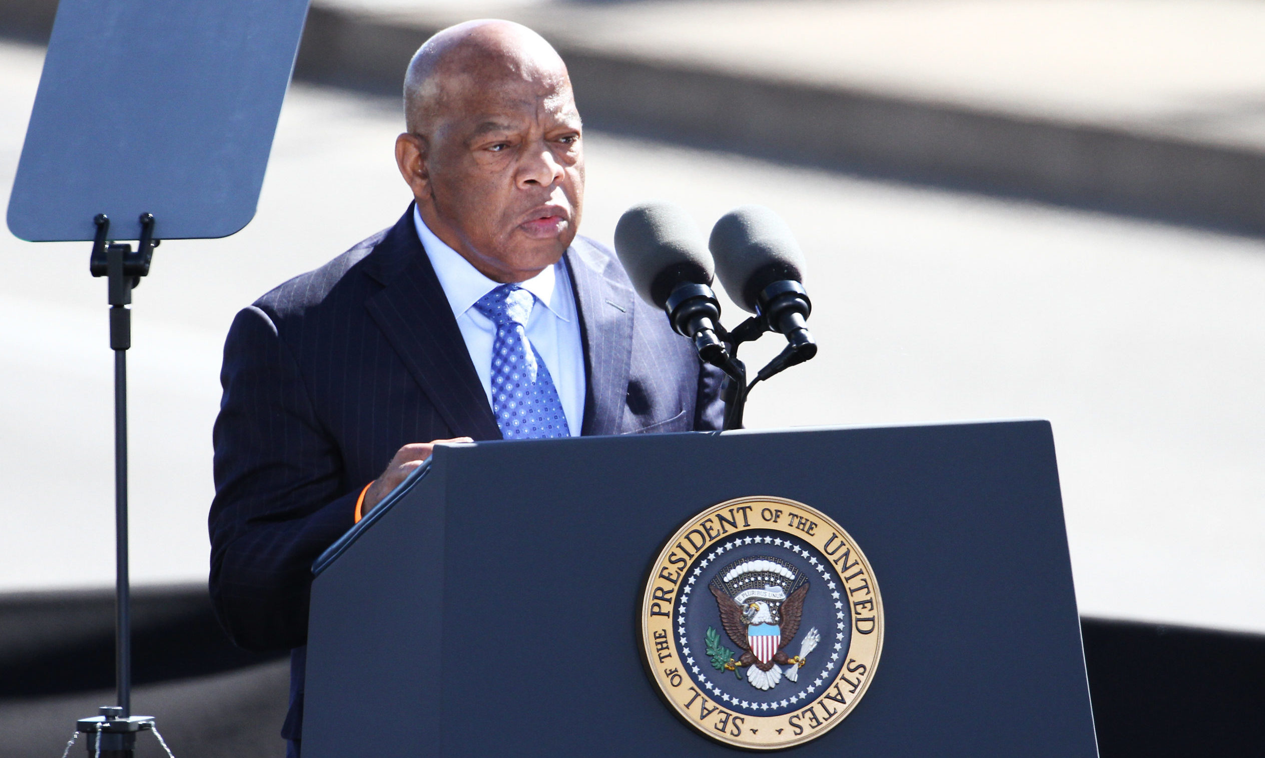 Civil Rights leader John Lewis speaks during activities commemorating the 50th anniversary of the Bloody Sunday crossing of the Edmund Pettus Bridge in Selma, Alabama, in March 2015.