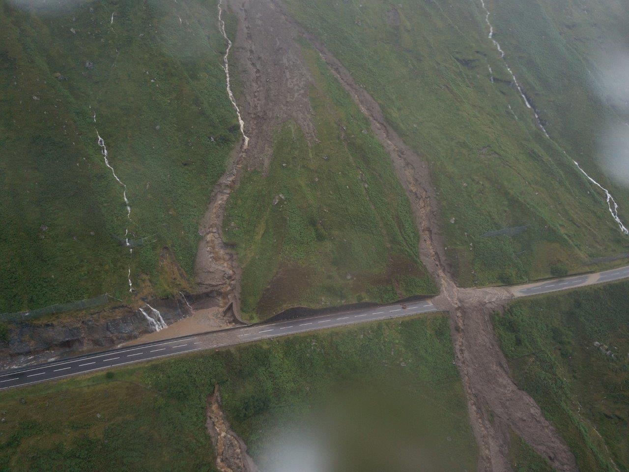 The landslides pictured from an aerial view