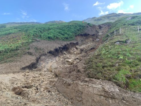 Debris fell from the hill side to the carriageway on A83