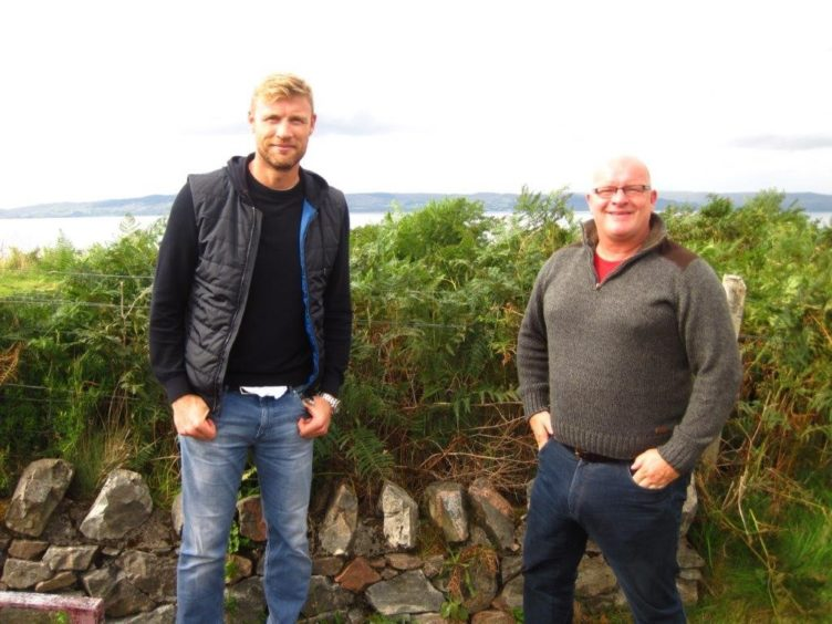Mowi harvest manager John Angus Gillies bumped into Freddie Flintoff prior to the group departing