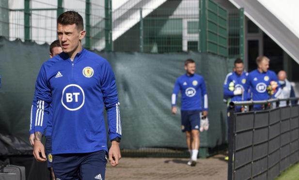 Ryan Jack walks out for Scotland training