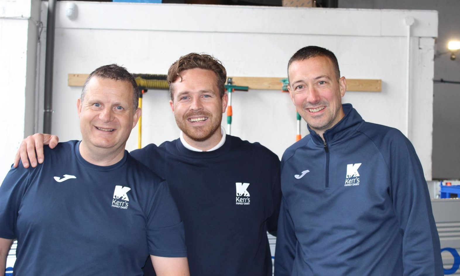 L-R: Manager Gary Smith, director of Kerr's Family Dairy Kelvin Kerr Jnr and manager Neil Fleming.