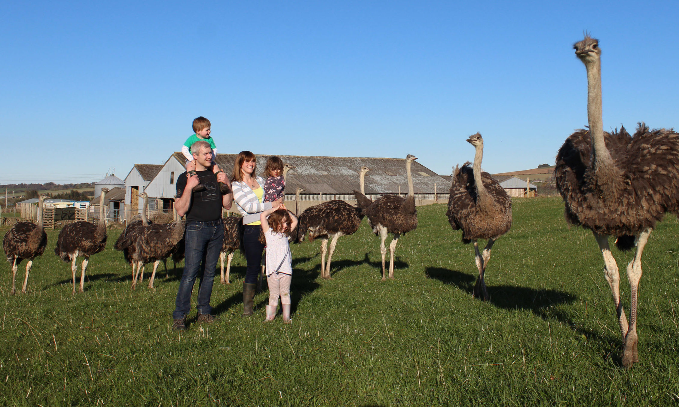 George and Isla French with their children Joy, Felicity and George at Little Rowater Farm, Aberdeenshire