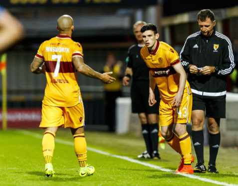 Motherwell's Adam Livingstone (R) comes off the bench to make his Premiership debut in May 2017