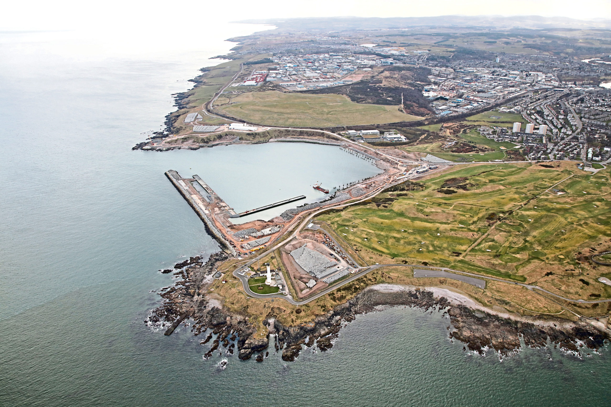 Aerial view of the new south harbour in Aberdeen.