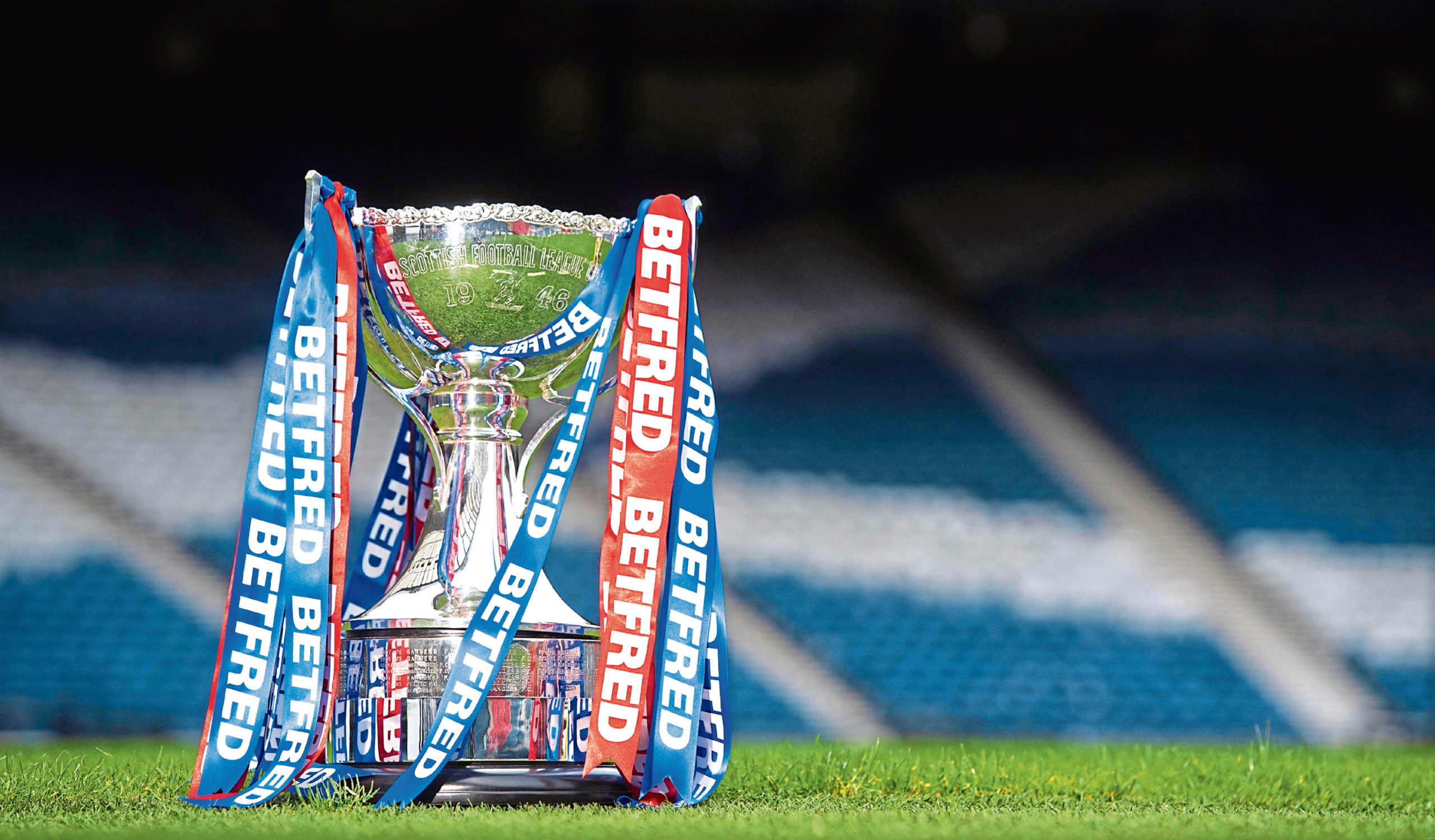 The Betfred Cup is pictured at Hampden Park.