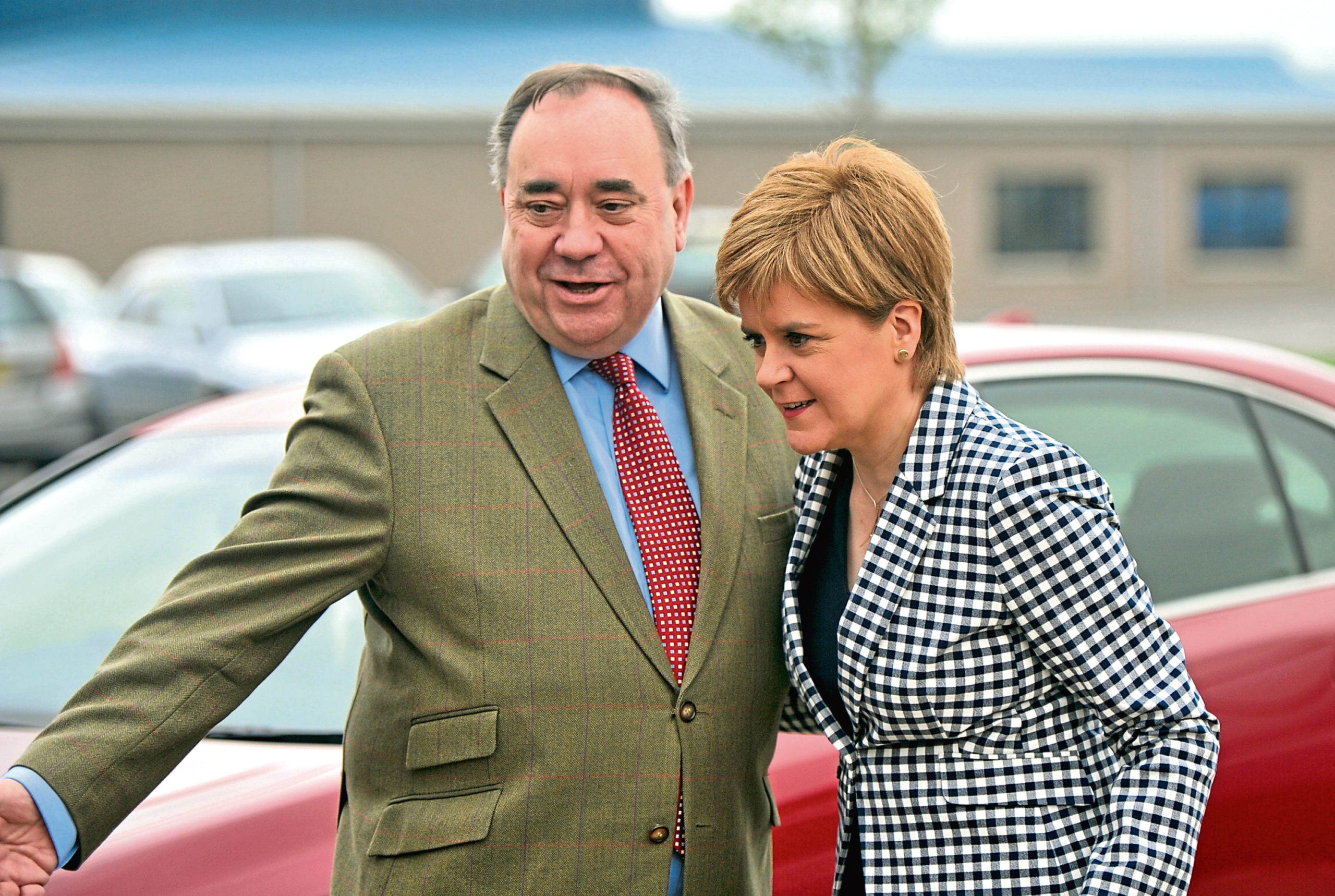 SNP leader Nicola Sturgeon will highlight the contrast between the SNP's investment in Childcare and Tory cuts to child tax credits as she visits Dreams Daycare nursery in Insch.  Pictured are SNP leader Nicola Sturgeon being greeted by Alex Salmond.  01/05/17  Picture by HEATHER FOWLIE