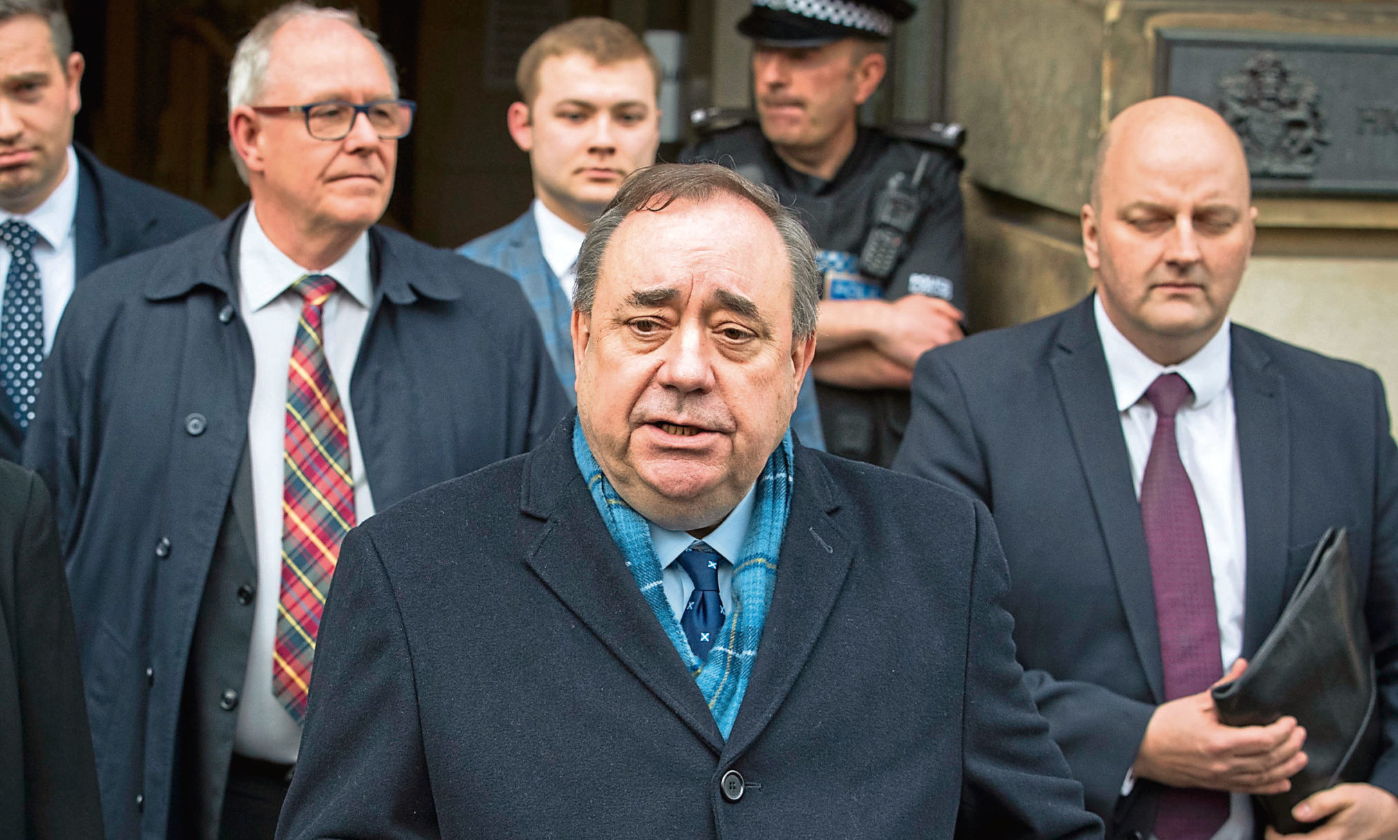 Alex Salmond leaving the High Court in Edinburgh