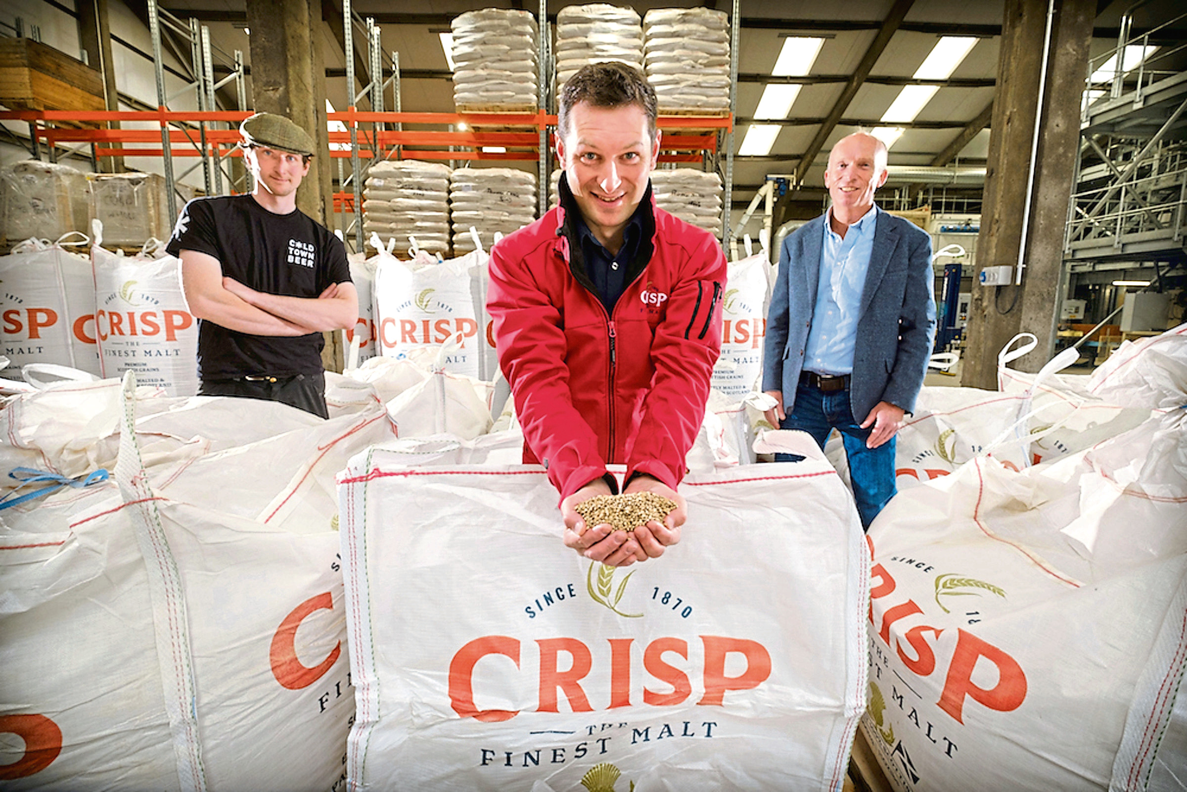 From left, Ed Evans, head brewer, Cold Town Brewery; Colin Johnston, Scottish craft sales manager, Crisp Malt and John Hutcheson, Leckerstone Farm
