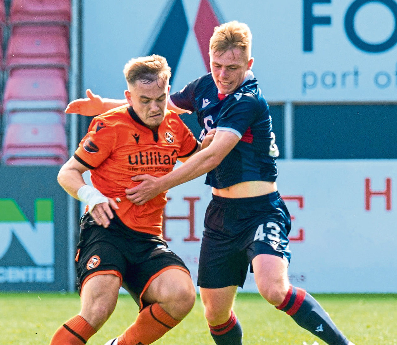 Josh Reid, right, in action for Ross County against Dundee United.