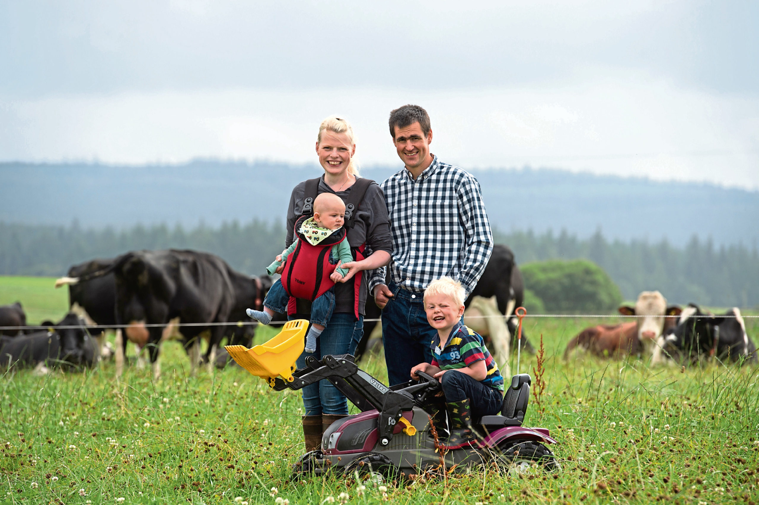 June and Gordon Whiteford with their children Alexander, 4, and four-month-old Struan.