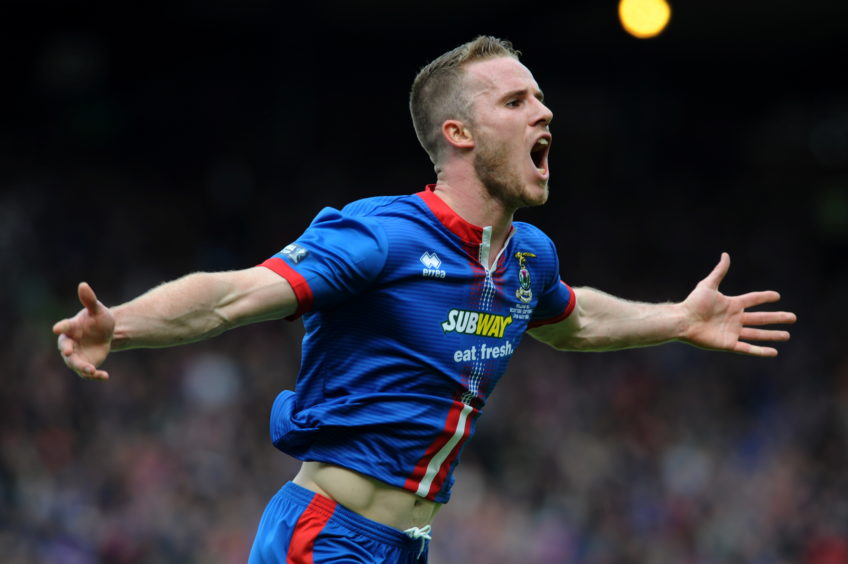 Watkins celebrates after scoring in Caley Thistle's Scottish Cup final victory over Falkirk in May 2015. Picture by Kenny Elrick
