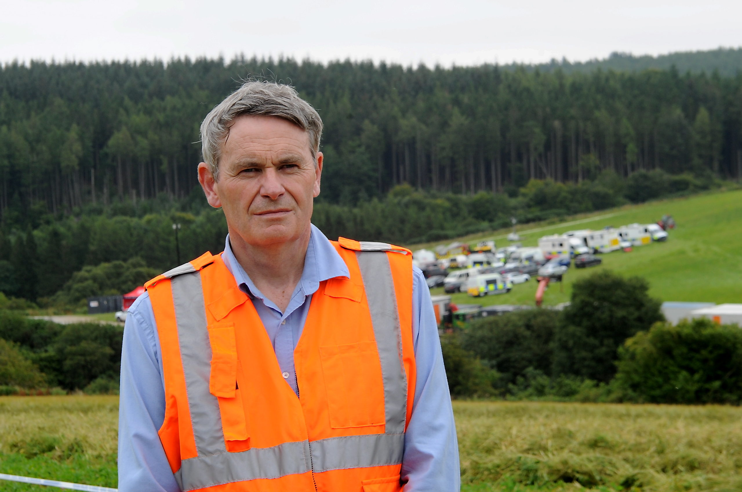 Pictured is Simon French (Chief Inspector of Rail Accidents at Rail Accident Investigation Branch) at the scene of Wednesday's fatal railway derailment near Stonehaven. Picture by DARRELL BENNS Pictured on 14/08/2020