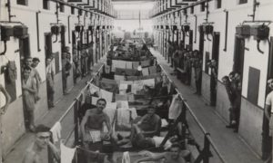 Allied prisoners of war at Changi prison in 1945.